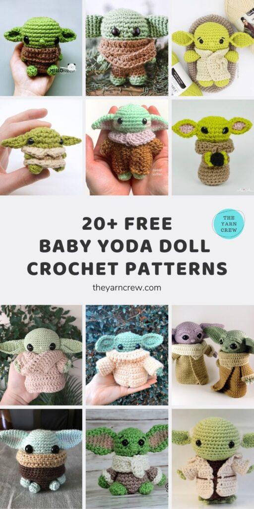 20+ FREE BABY YODA DOLL CROCHET PATTERNS Main Pinterest Pin Poster