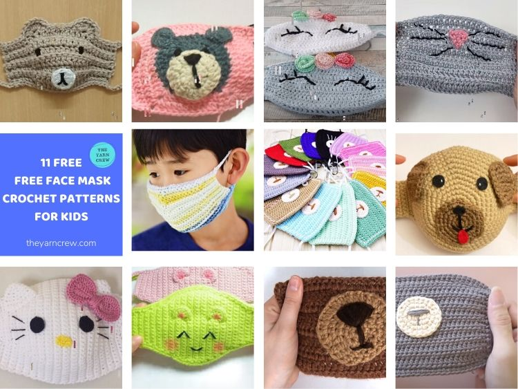 11 Free Face Mask Crochet Patterns For Kids FACEBOOK POSTER