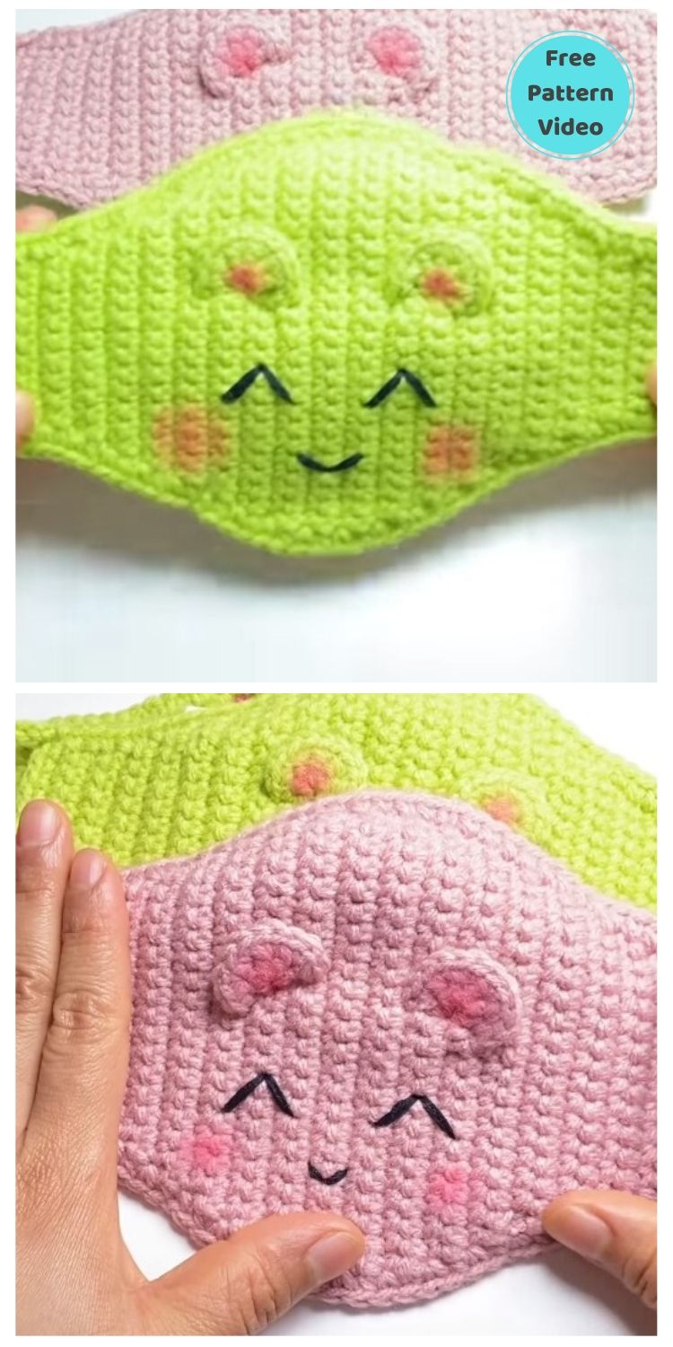 11 Free Face Mask Crochet Patterns For Kids PIN POSTER 1
