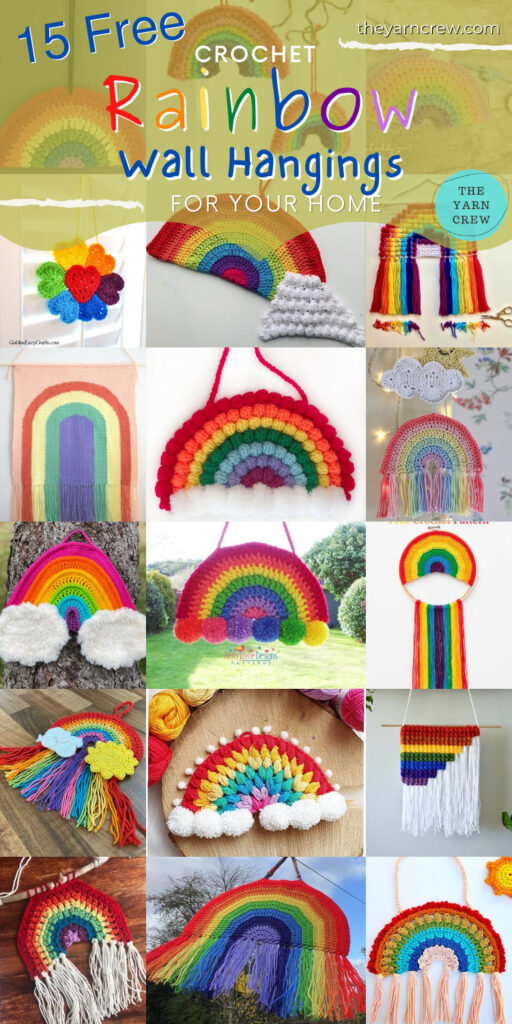 15 Free Amazing Crochet Rainbow Wall Hangings For Your Home - PIN3