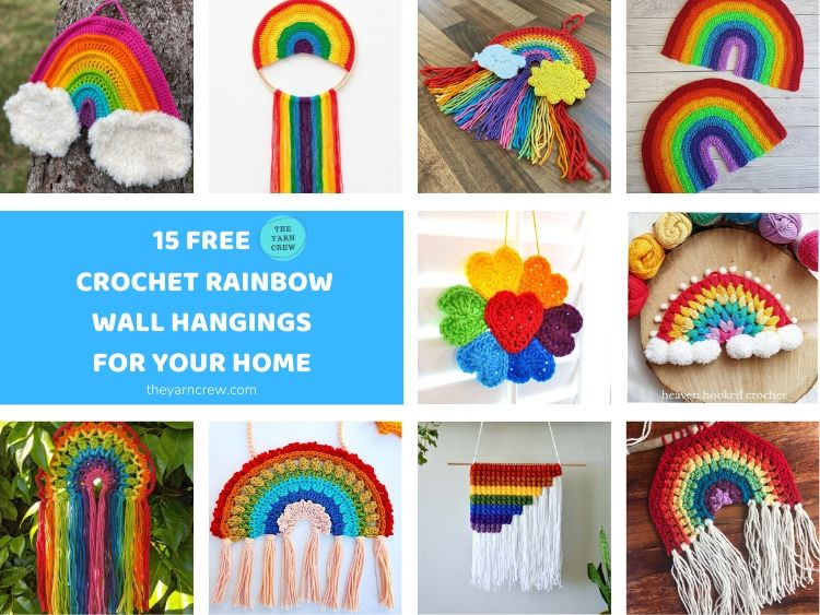 15 Free Crochet Rainbow Wall Hangings For Your Home FACEBOOK POSTER