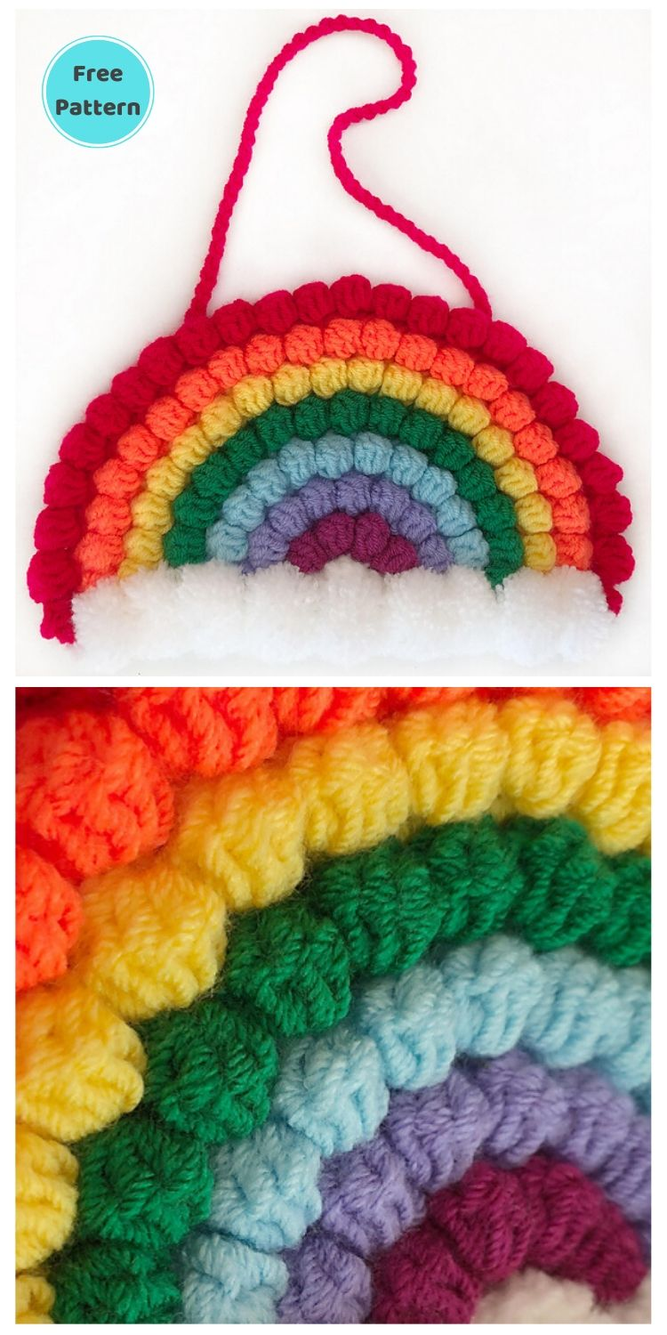 15 Free Crochet Rainbow Wall Hangings For Your Home PIN POSTER 10