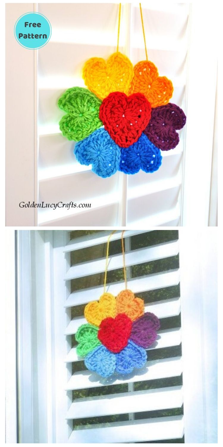 15 Free Crochet Rainbow Wall Hangings For Your Home PIN POSTER 11