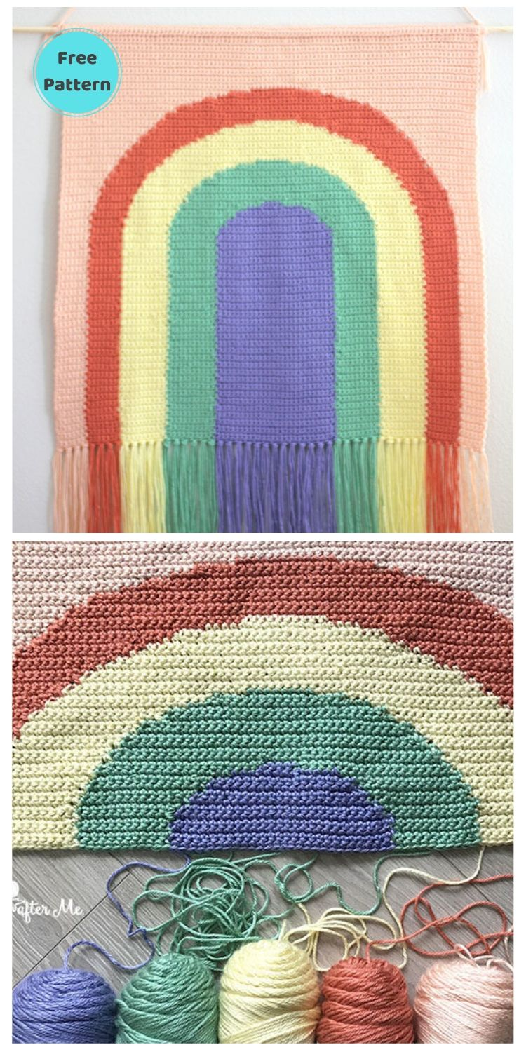 15 Free Crochet Rainbow Wall Hangings For Your Home PIN POSTER 12