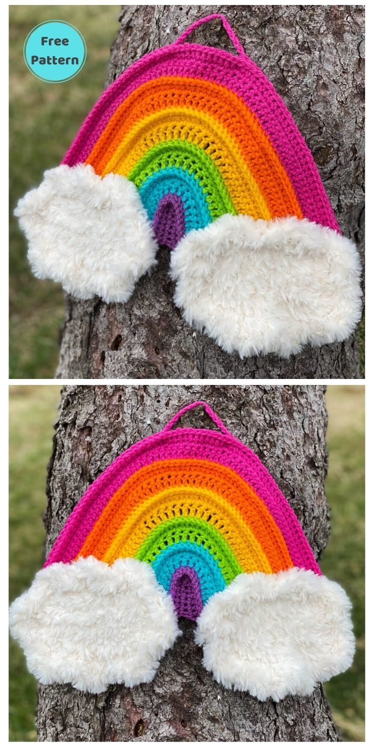 15 Free Crochet Rainbow Wall Hangings For Your Home PIN POSTER 13 (1)