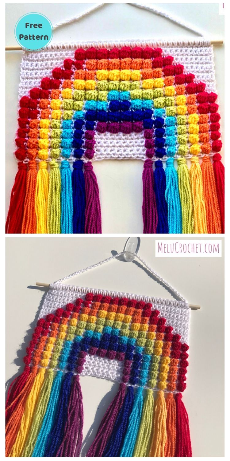 15 Free Crochet Rainbow Wall Hangings For Your Home PIN POSTER 13