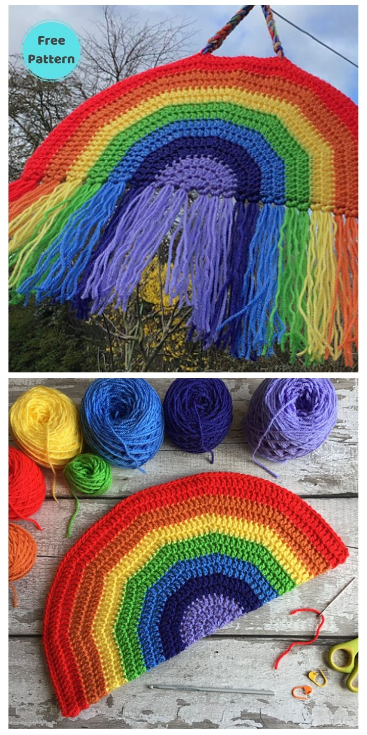 15 Free Crochet Rainbow Wall Hangings For Your Home PIN POSTER 2