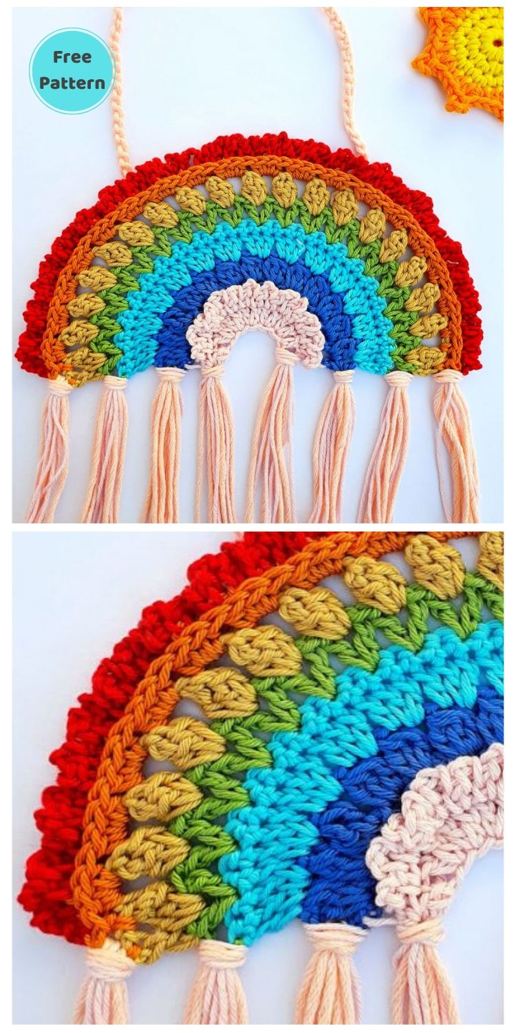 15 Free Crochet Rainbow Wall Hangings For Your Home PIN POSTER 20