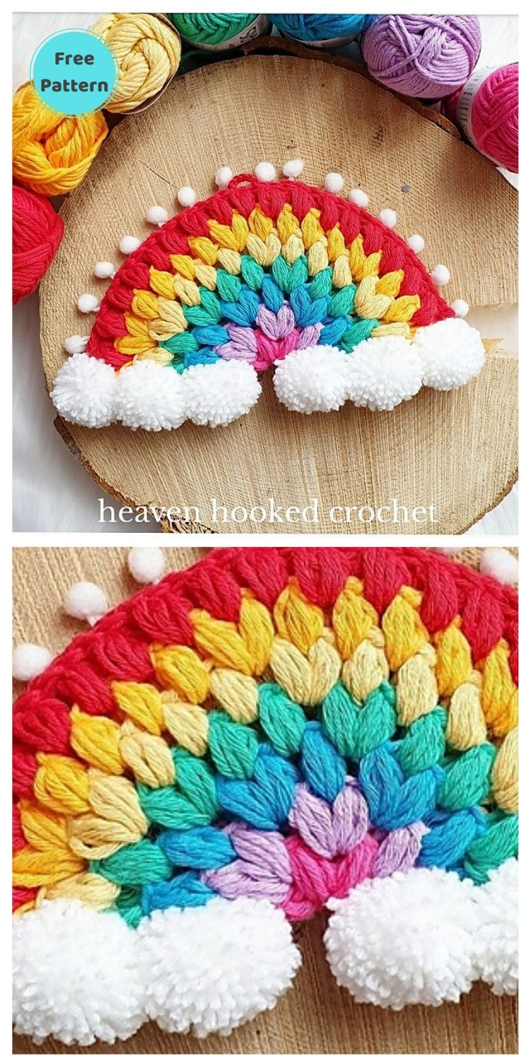 15 Free Crochet Rainbow Wall Hangings For Your Home PIN POSTER 3