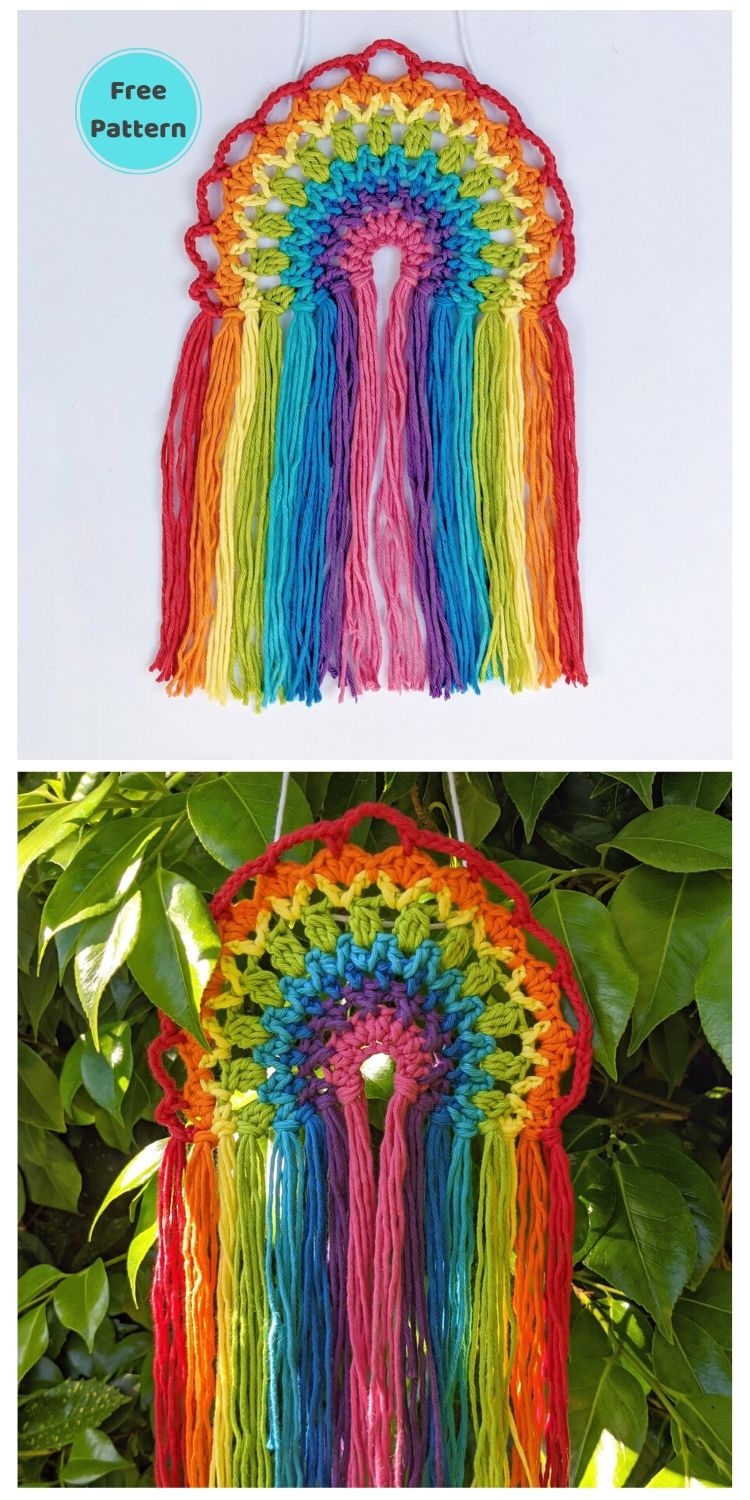 15 Free Crochet Rainbow Wall Hangings For Your Home PIN POSTER 4