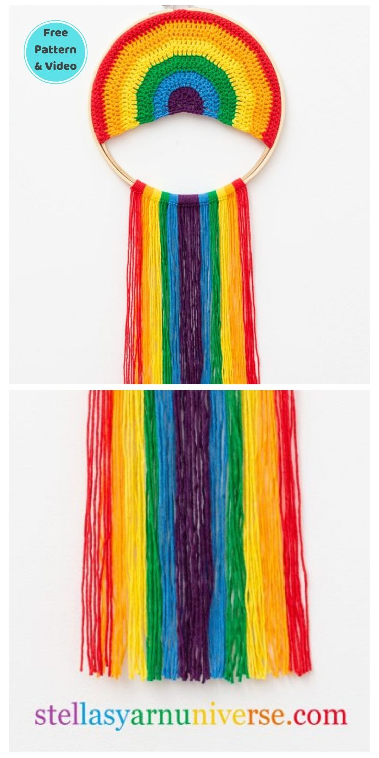 15 Free Crochet Rainbow Wall Hangings For Your Home PIN POSTER 6