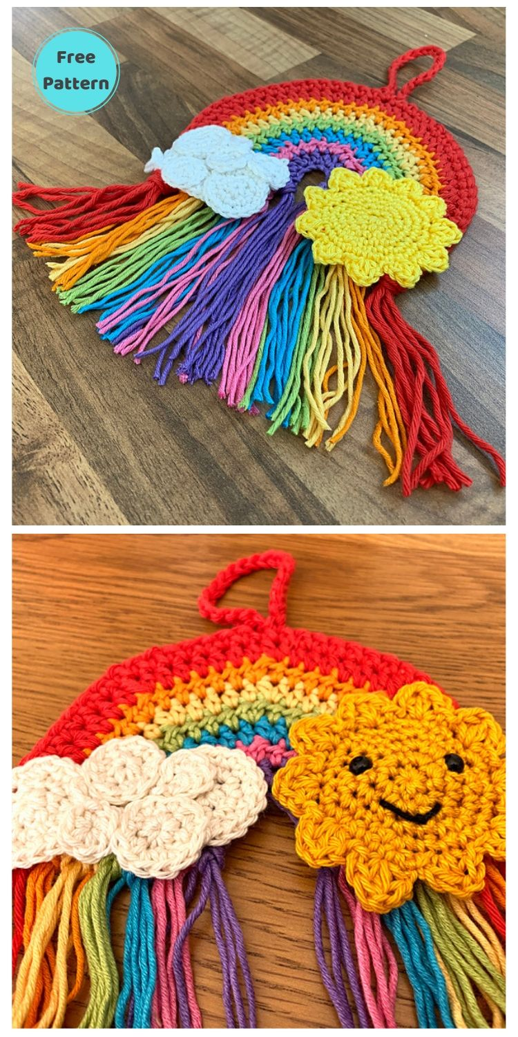 15 Free Crochet Rainbow Wall Hangings For Your Home PIN POSTER 8