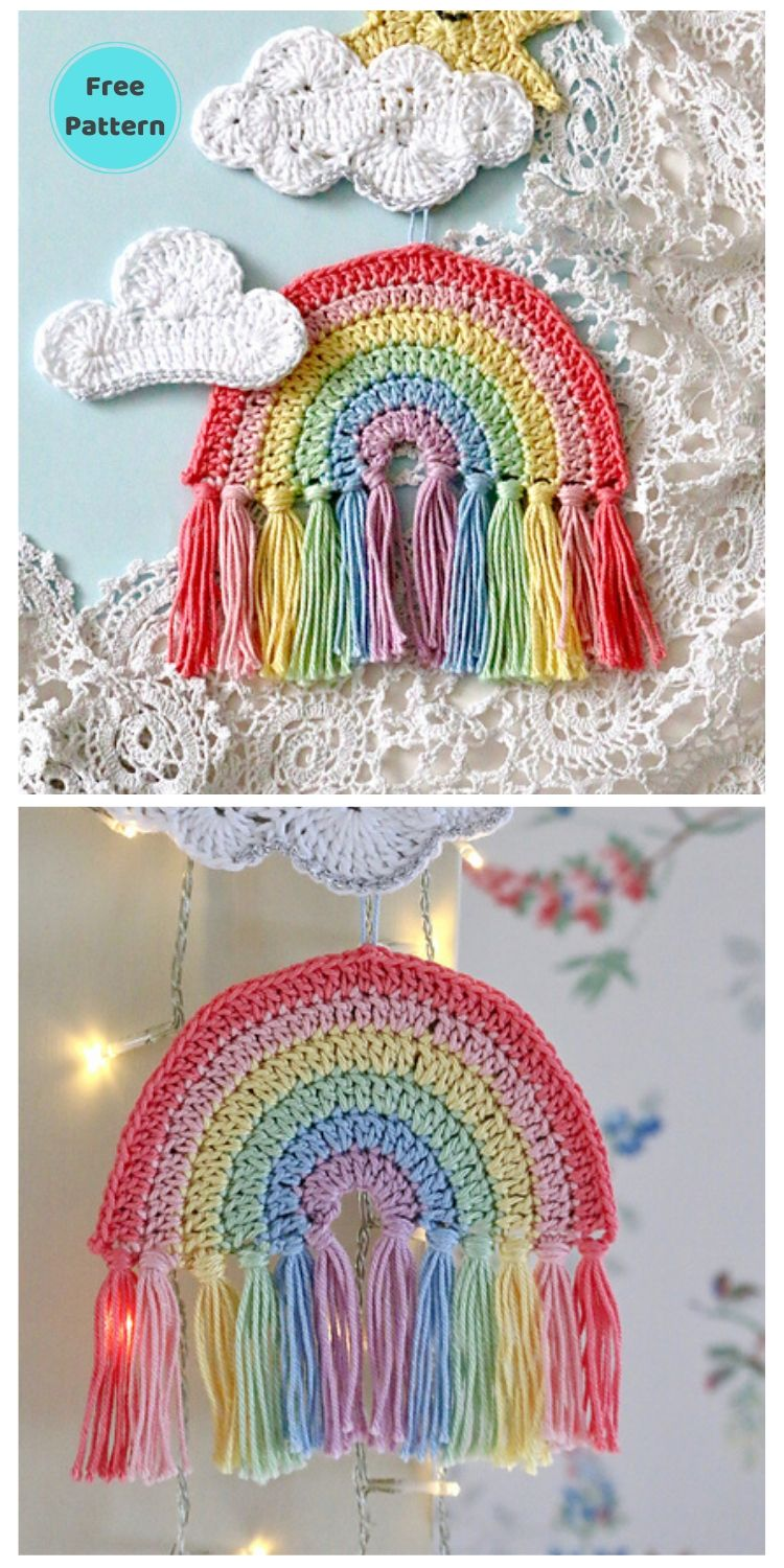15 Free Crochet Rainbow Wall Hangings For Your Home PIN POSTER 9