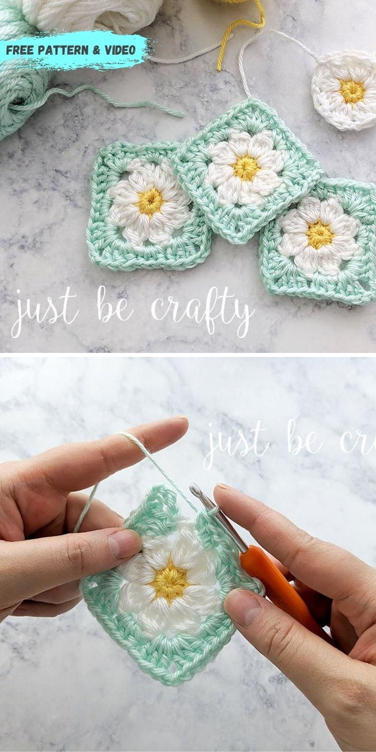 16 Flower Granny Square Patterns To Crochet This Summer PIN POSTER 1