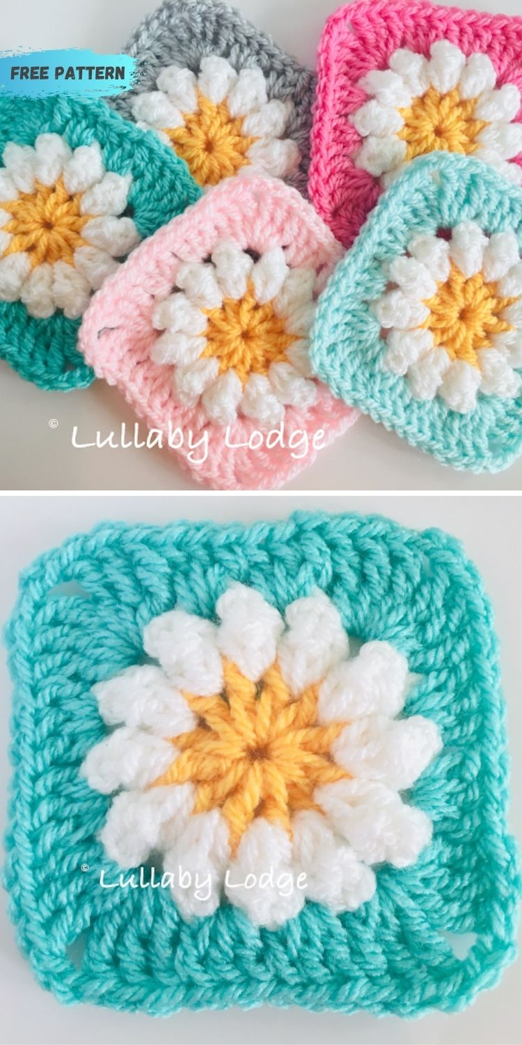 16 Flower Granny Square Patterns To Crochet This Summer PIN POSTER 10