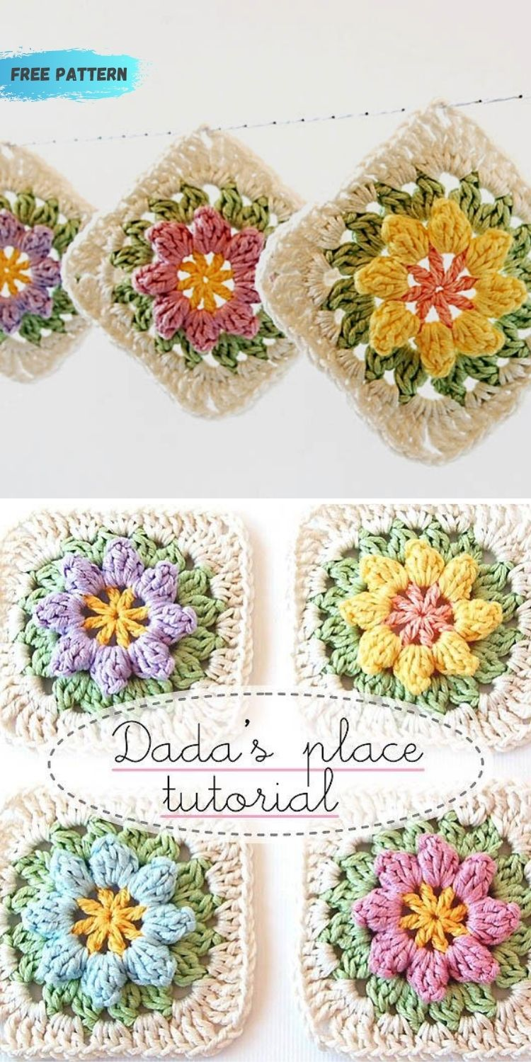 16 Flower Granny Square Patterns To Crochet This Summer PIN POSTER 11