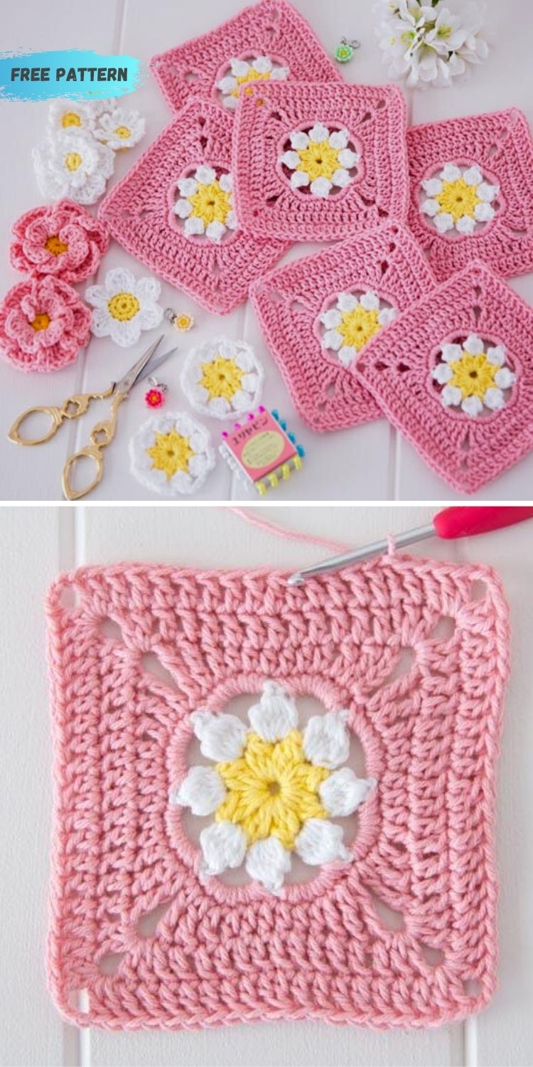 16 Flower Granny Square Patterns To Crochet This Summer PIN POSTER 12