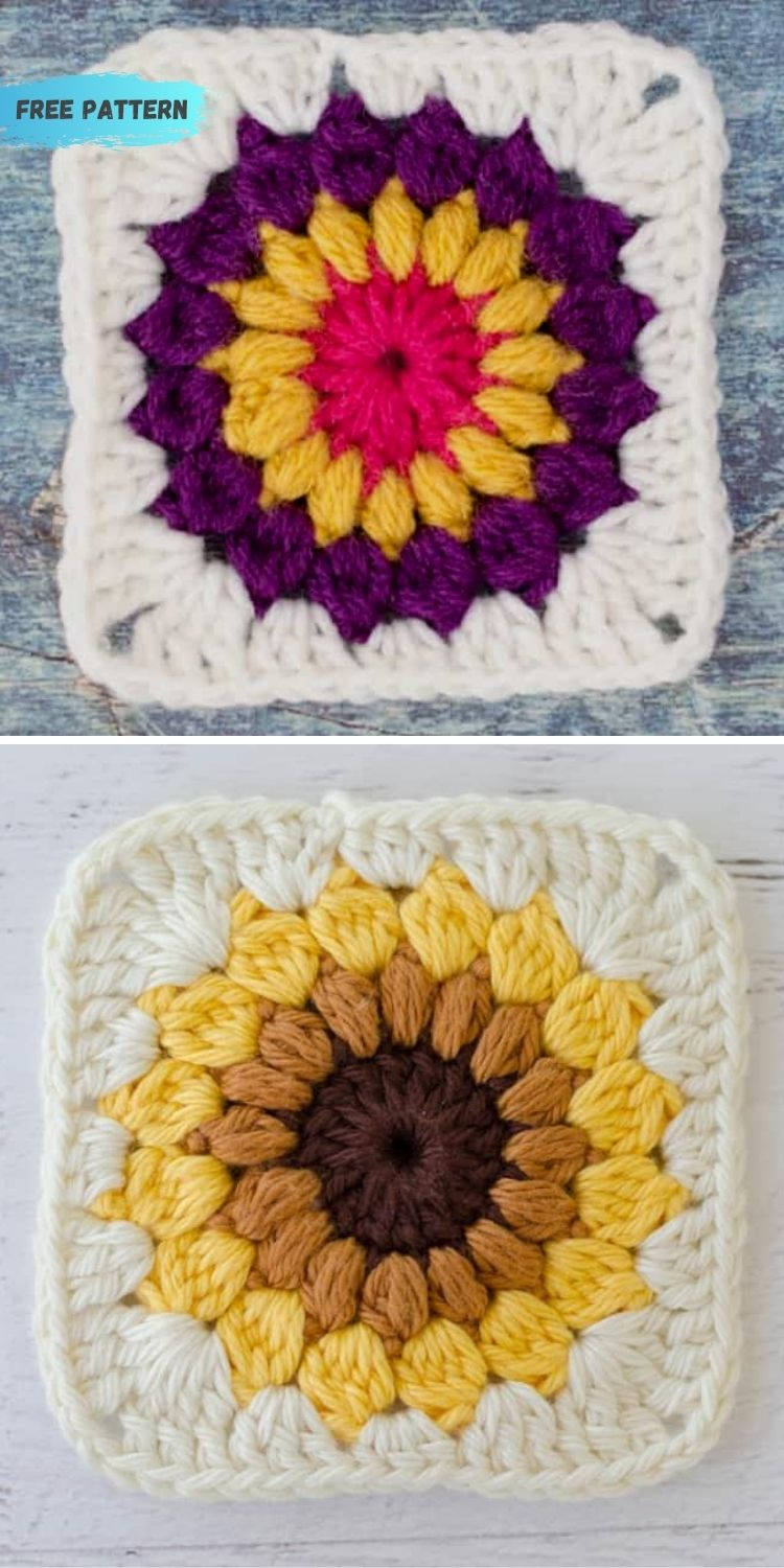 16 Flower Granny Square Patterns To Crochet This Summer PIN POSTER 13
