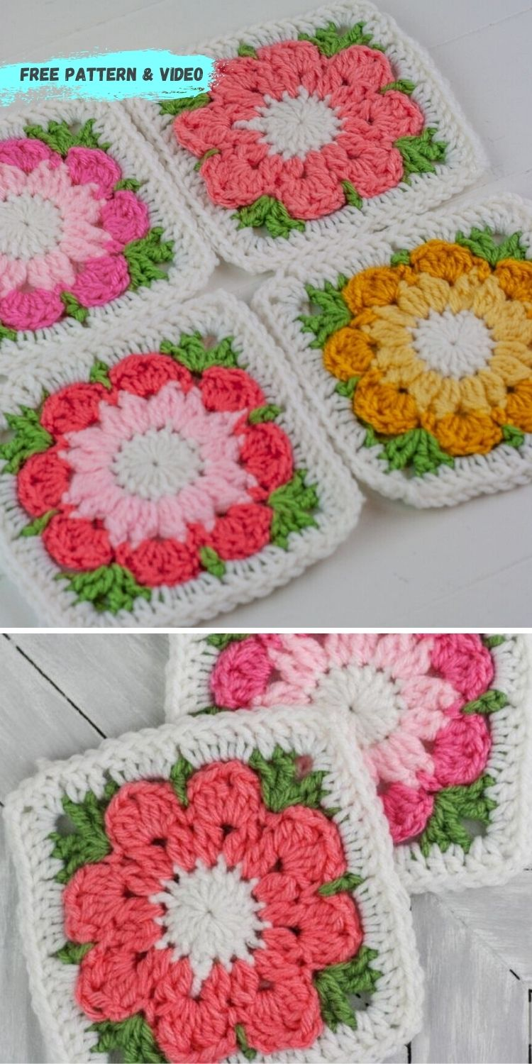 16 Flower Granny Square Patterns To Crochet This Summer PIN POSTER 14