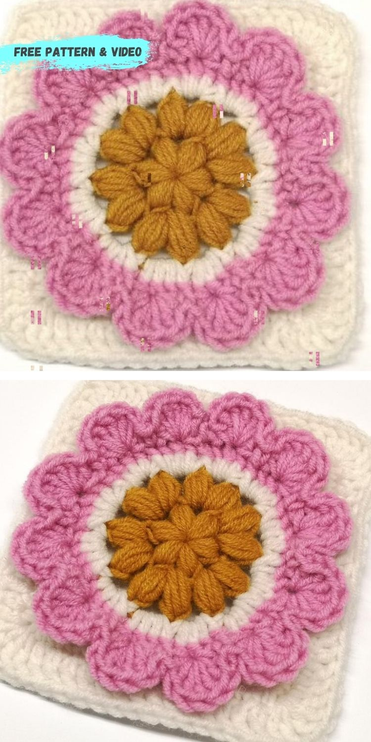 16 Flower Granny Square Patterns To Crochet This Summer PIN POSTER 15