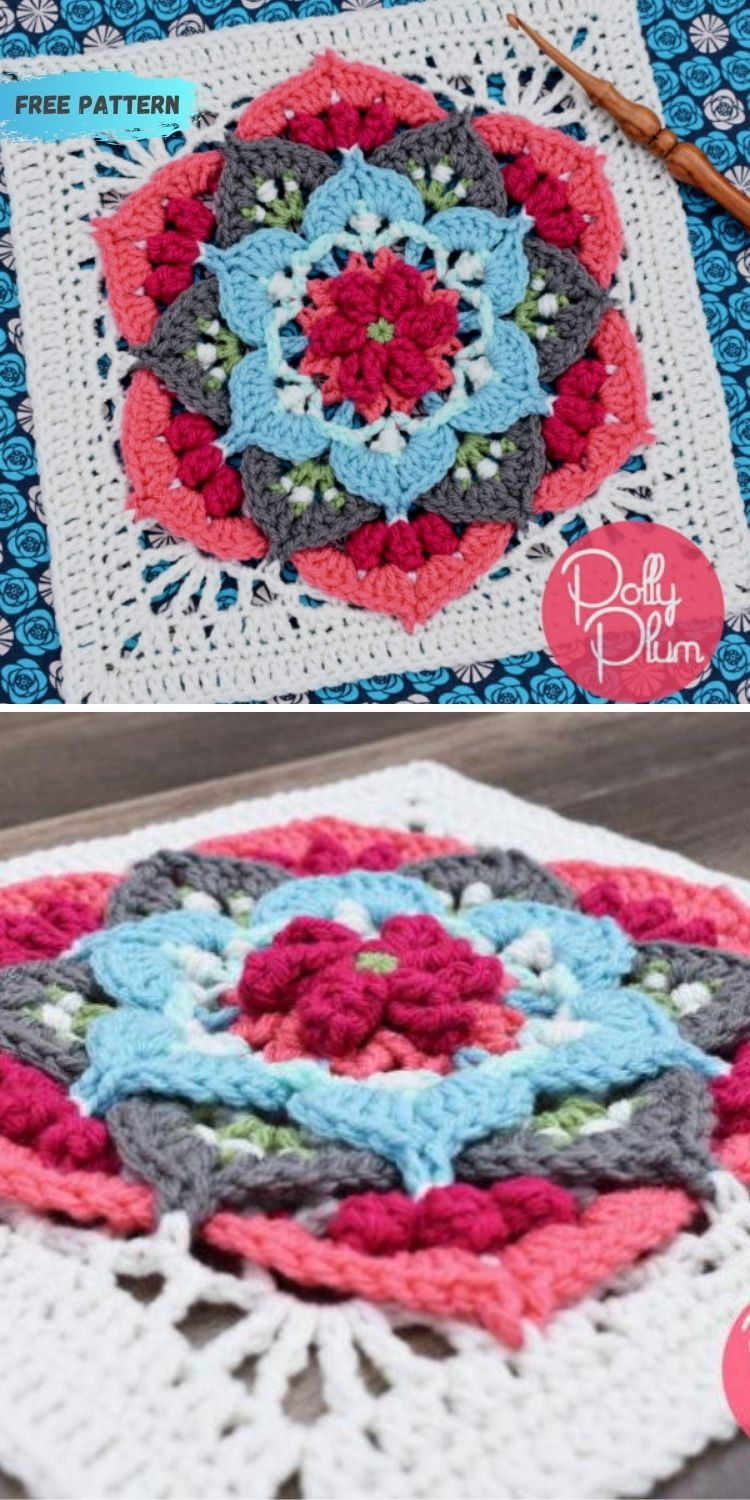 16 Flower Granny Square Patterns To Crochet This Summer PIN POSTER 16