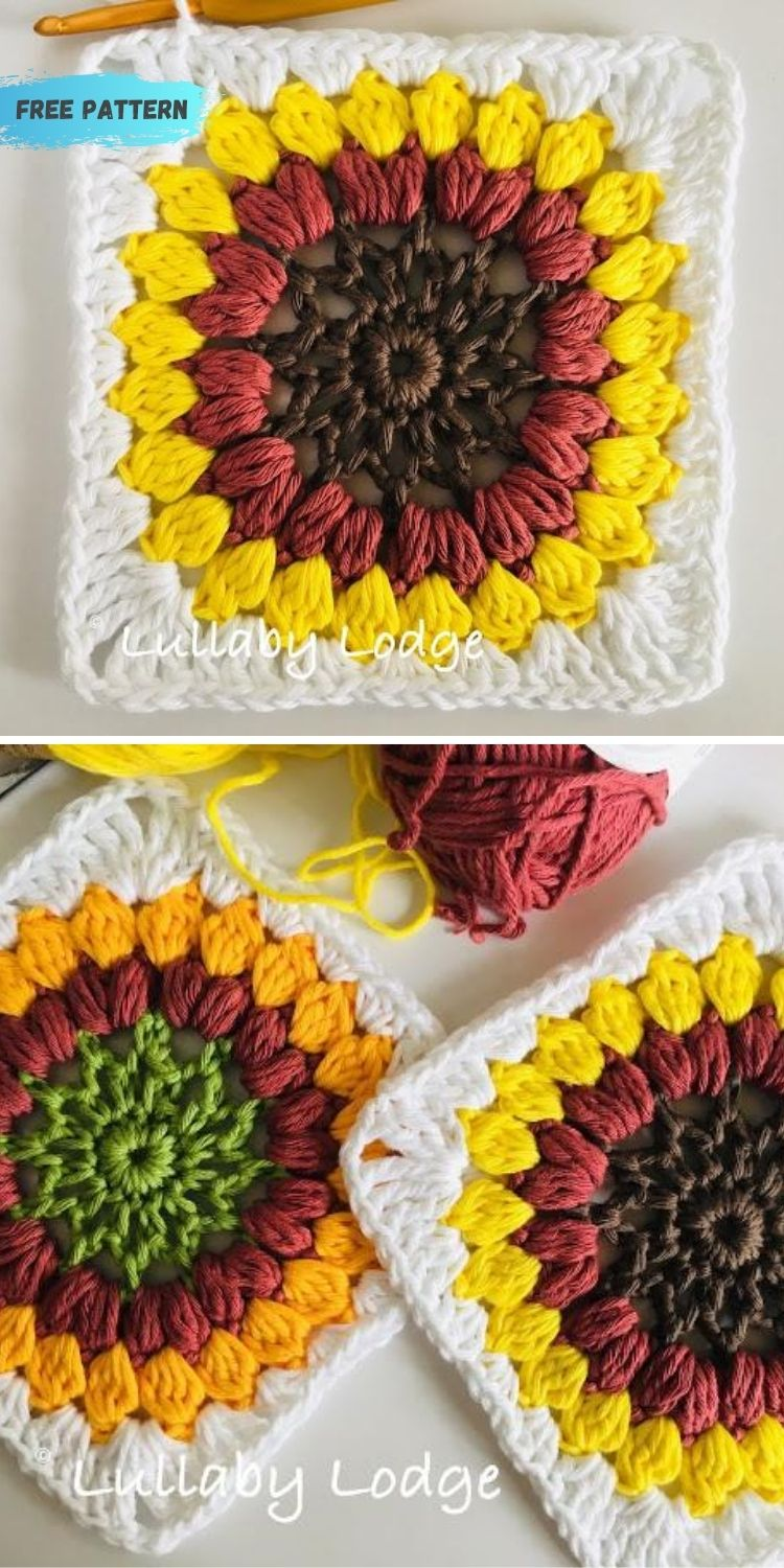 16 Flower Granny Square Patterns To Crochet This Summer PIN POSTER 2