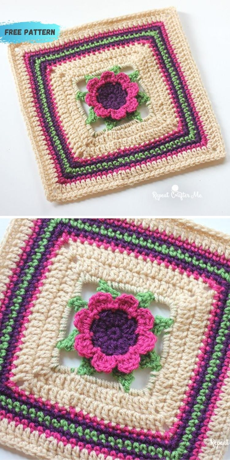 16 Flower Granny Square Patterns To Crochet This Summer PIN POSTER 3