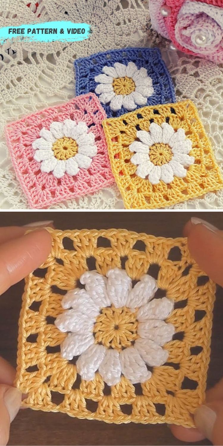 16 Flower Granny Square Patterns To Crochet This Summer PIN POSTER 4