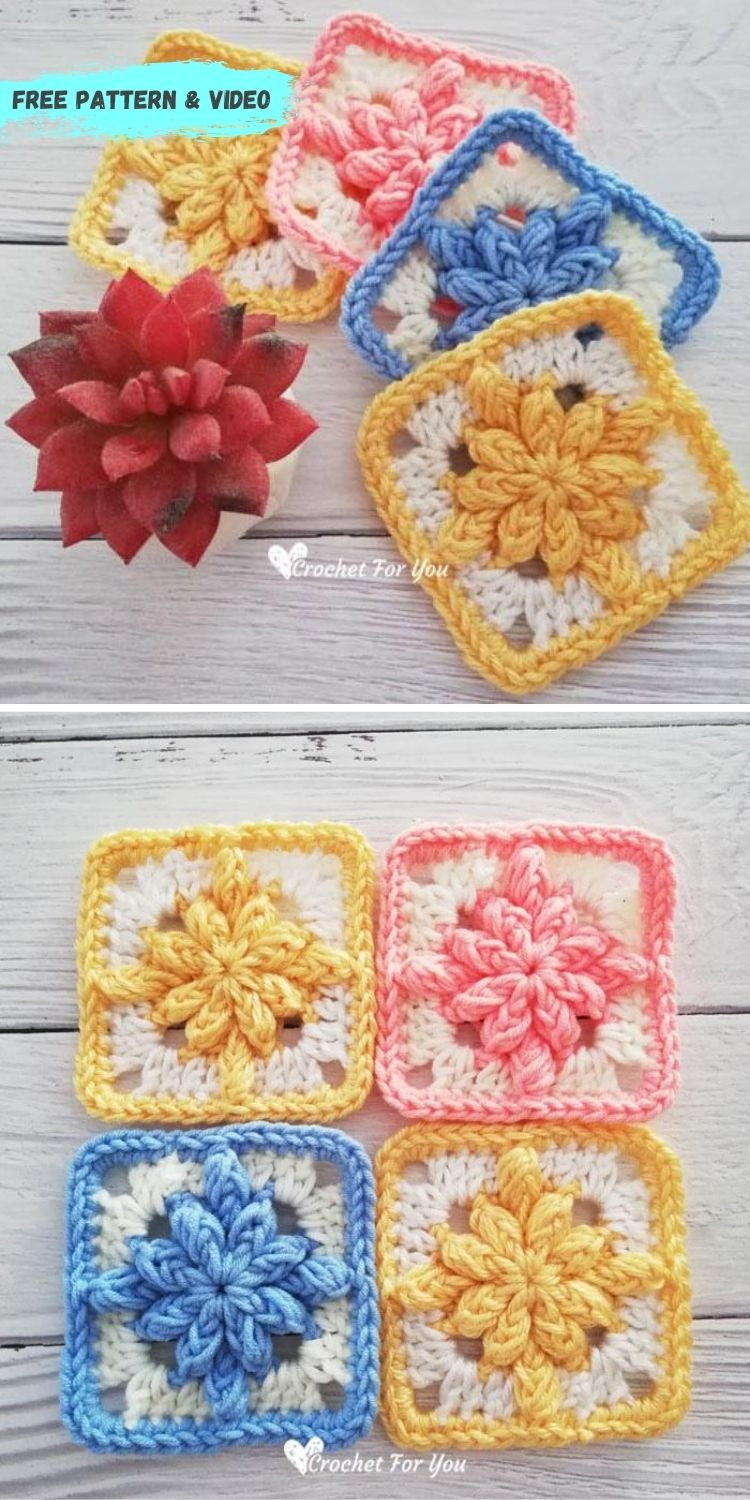 16 Flower Granny Square Patterns To Crochet This Summer PIN POSTER 5