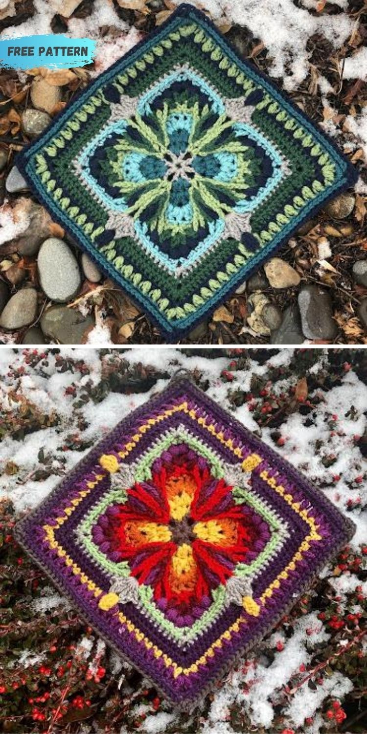 16 Flower Granny Square Patterns To Crochet This Summer PIN POSTER 6