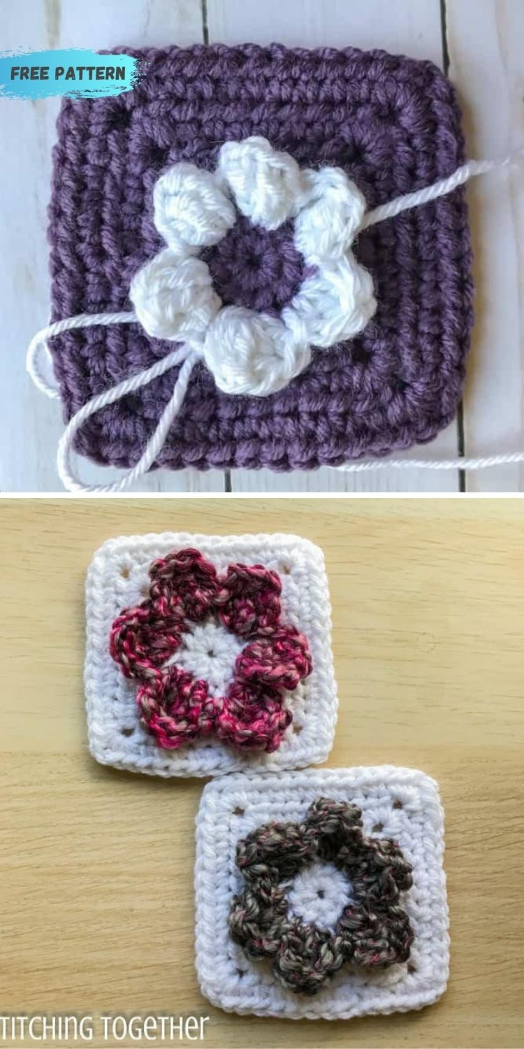 16 Flower Granny Square Patterns To Crochet This Summer PIN POSTER 7