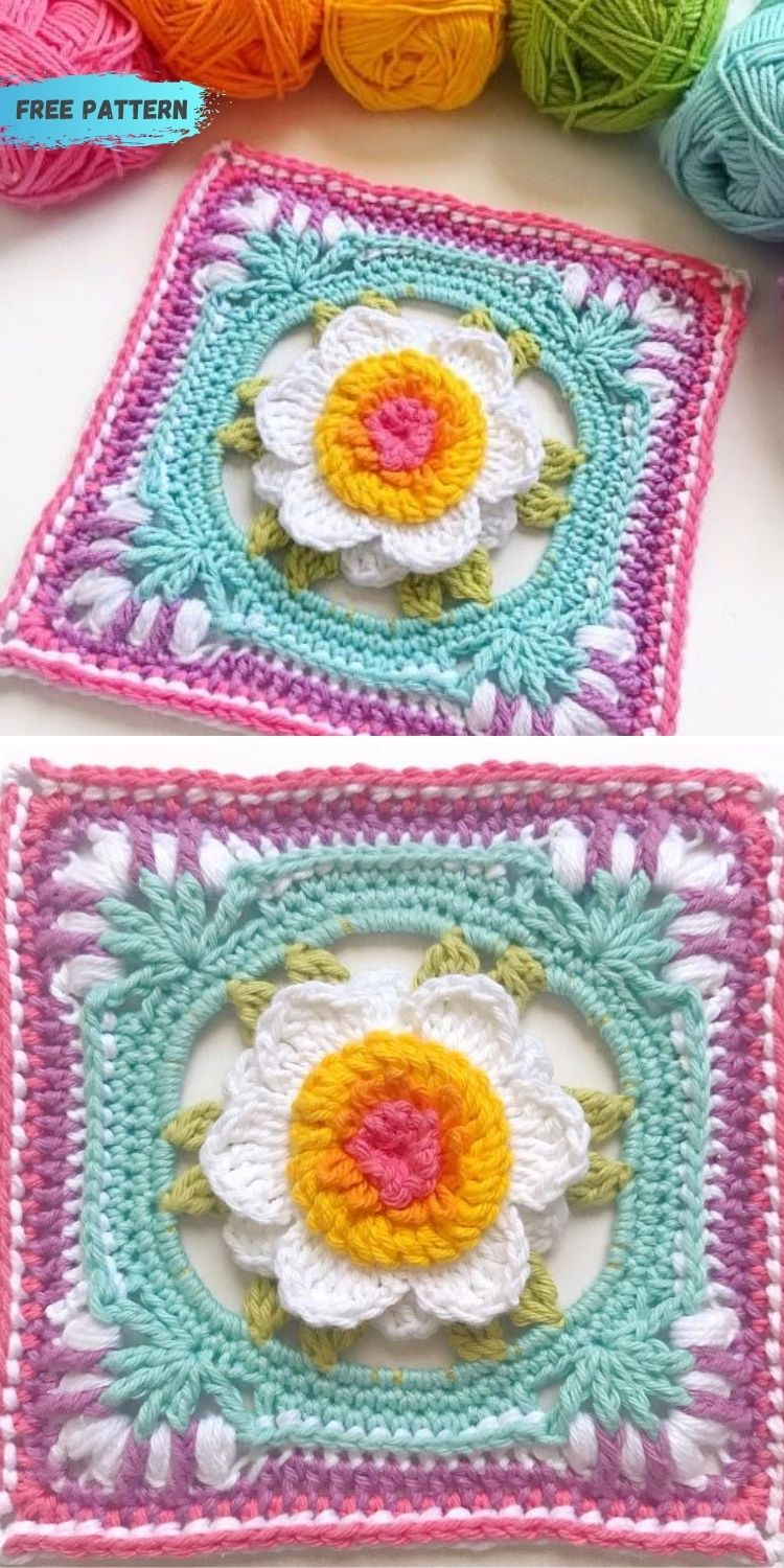 16 Flower Granny Square Patterns To Crochet This Summer PIN POSTER 8