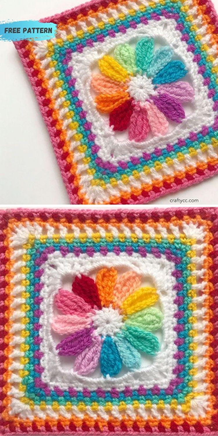 16 Flower Granny Square Patterns To Crochet This Summer PIN POSTER 9