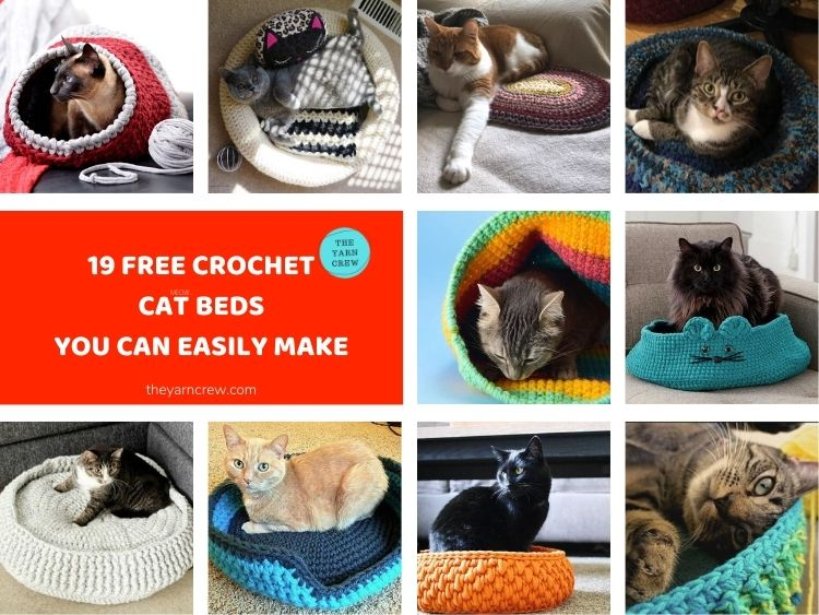 19 Free Crochet Cat Bed Patterns You Can Easily Make FACEBOOK POSTER 1