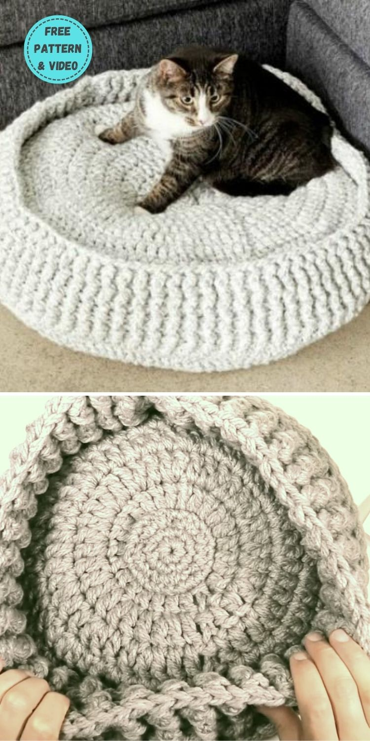 19 Free Crochet Cat Bed Patterns You Can Easily Make PIN POSTER 13