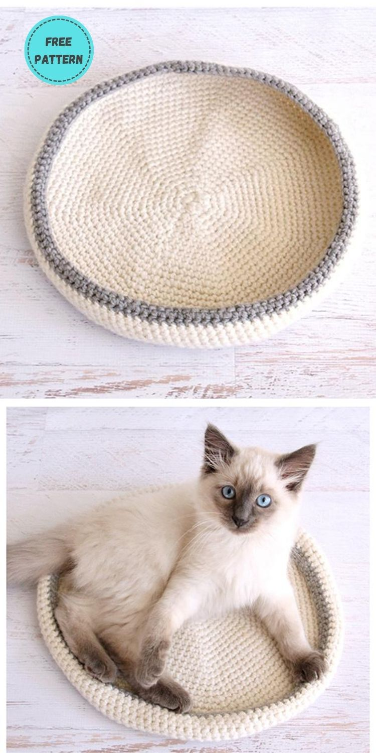19 Free Crochet Cat Bed Patterns You Can Easily Make PIN POSTER 14