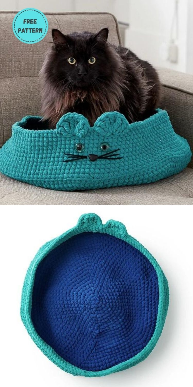 19 Free Crochet Cat Bed Patterns You Can Easily Make PIN POSTER 15