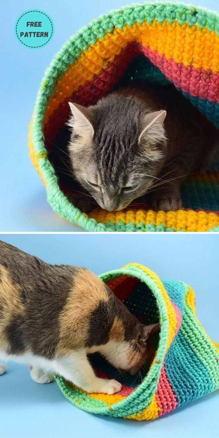 19 Free Crochet Cat Bed Patterns You Can Easily Make PIN POSTER 16