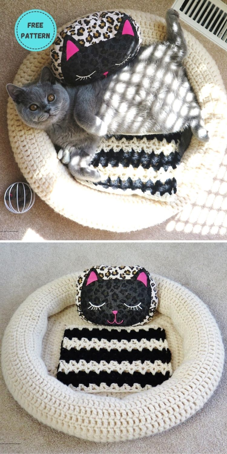 19 Free Crochet Cat Bed Patterns You Can Easily Make PIN POSTER 18