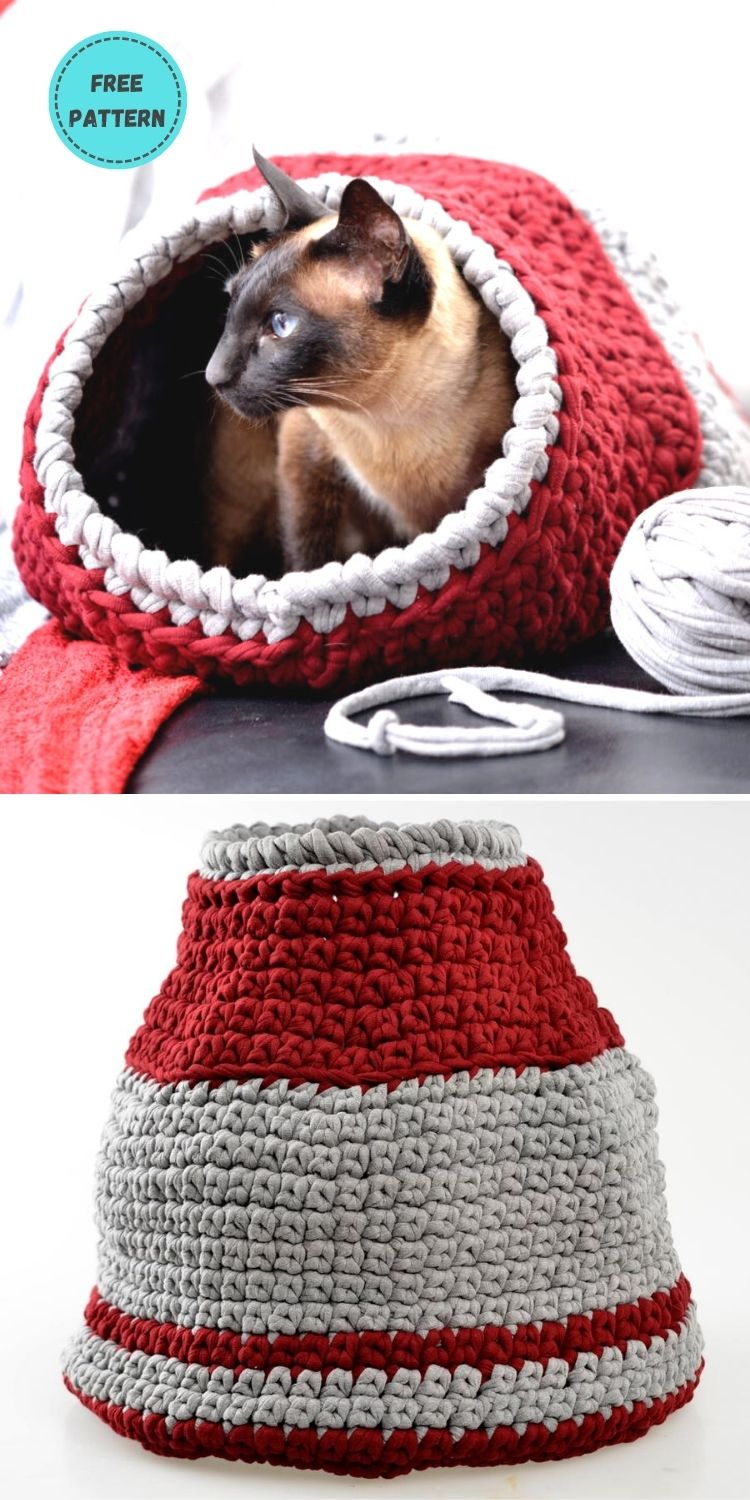 19 Free Crochet Cat Bed Patterns You Can Easily Make PIN POSTER 19