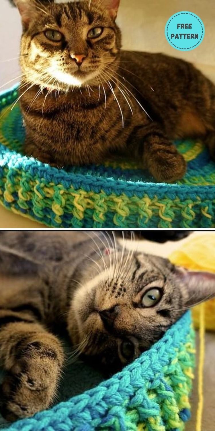 19 Free Crochet Cat Bed Patterns You Can Easily Make PIN POSTER 2