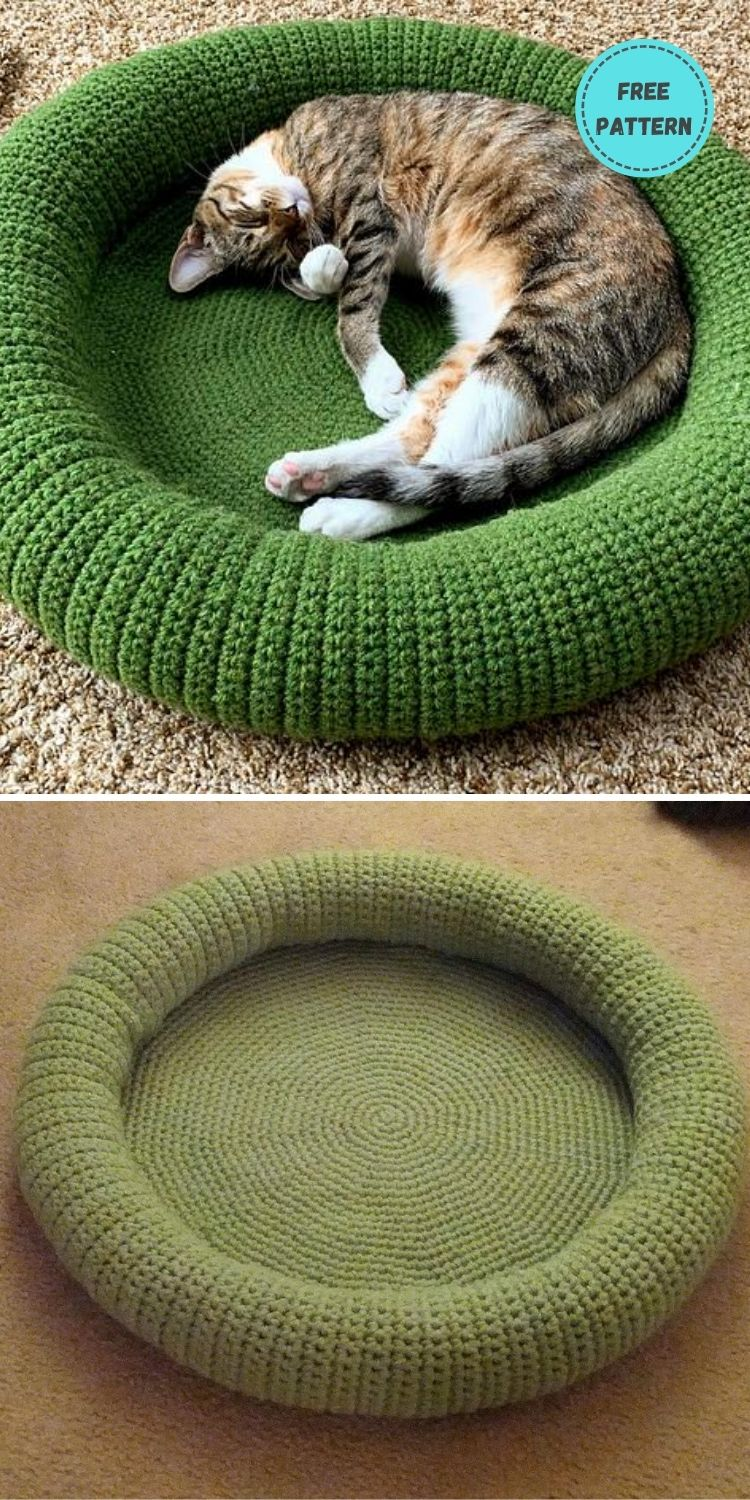 19 Free Crochet Cat Bed Patterns You Can Easily Make PIN POSTER 3
