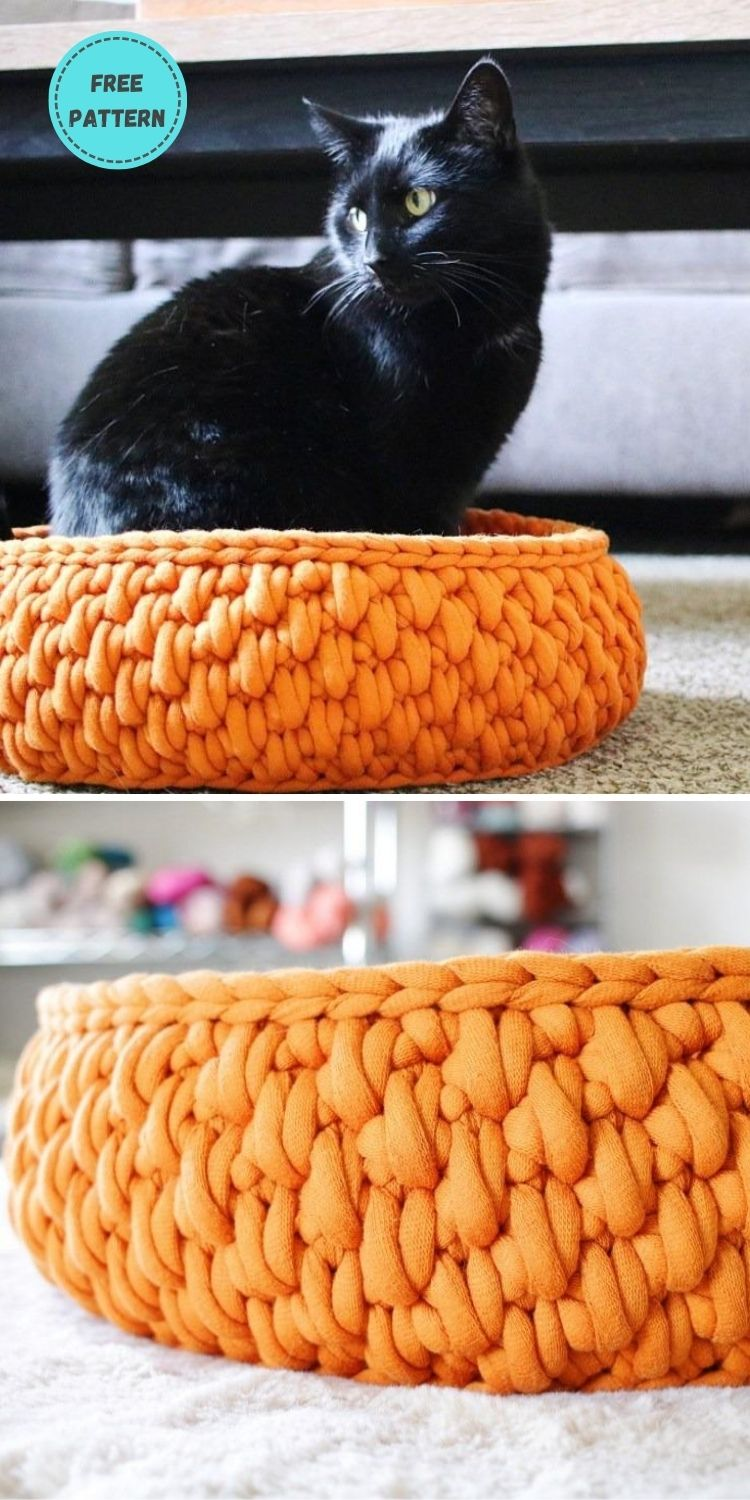 19 Free Crochet Cat Bed Patterns You Can Easily Make PIN POSTER 8