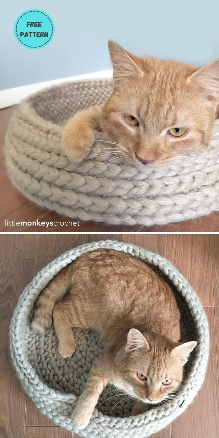 19 Free Crochet Cat Bed Patterns You Can Easily Make PIN POSTER 9