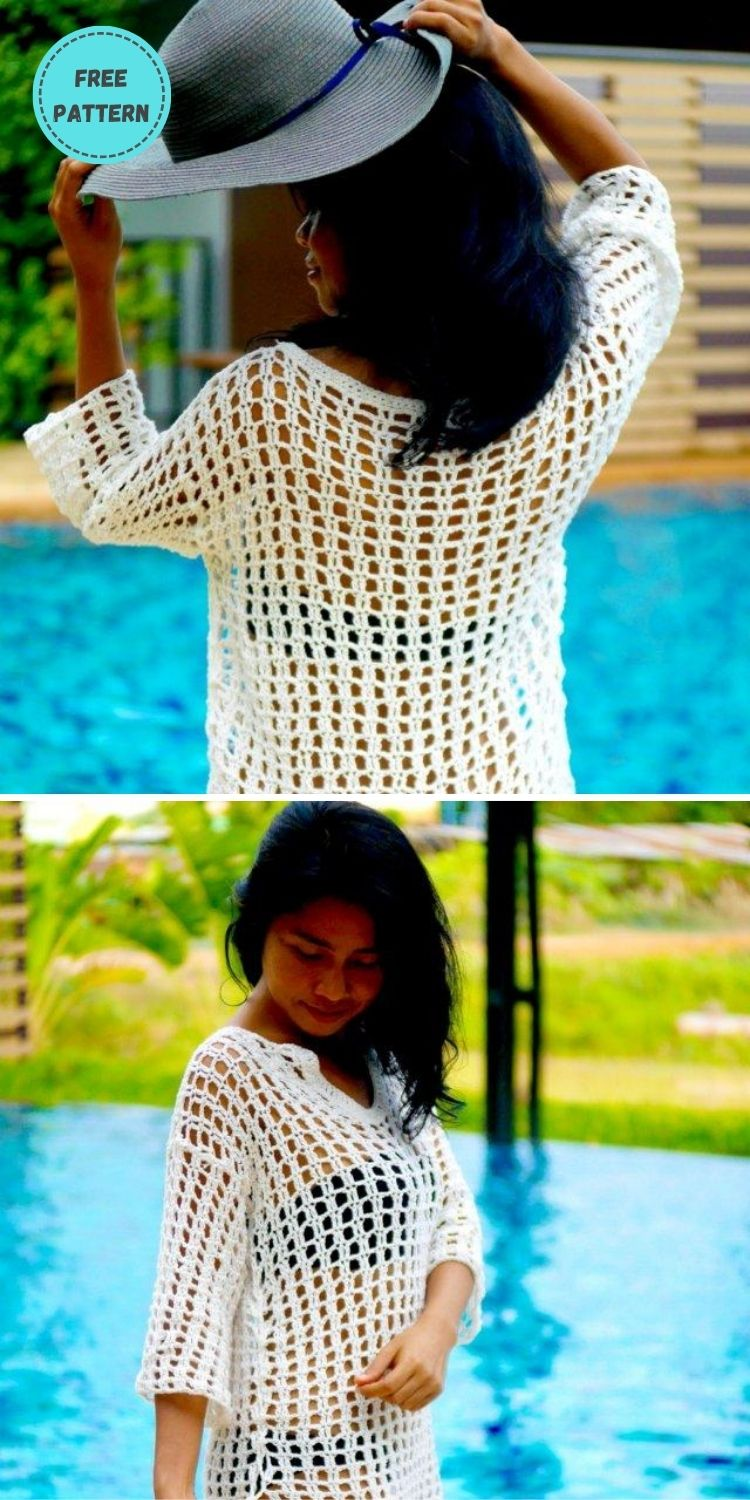 22 Free Crochet Cover Up Patterns For Summer PIN POSTER 17