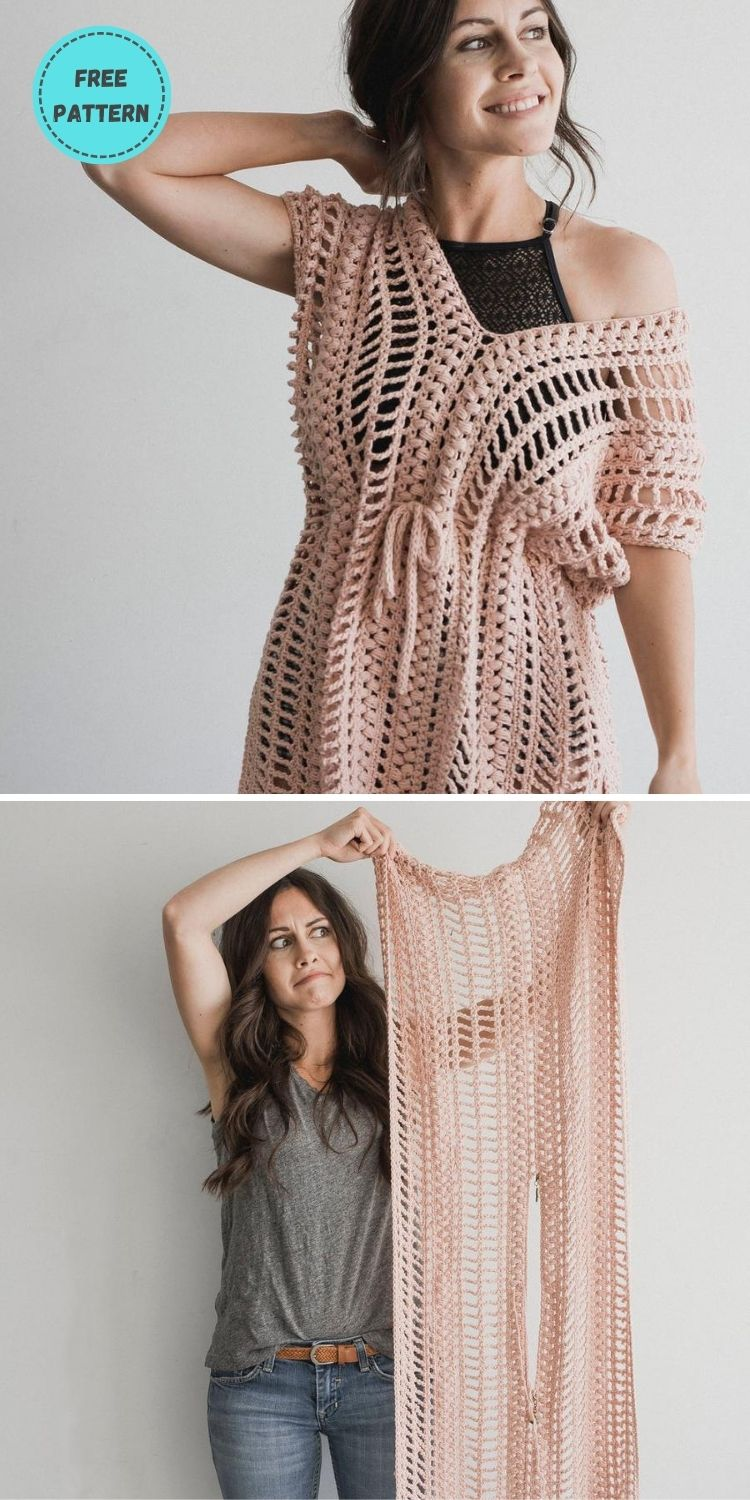 22 Free Crochet Cover Up Patterns For Summer PIN POSTER 5