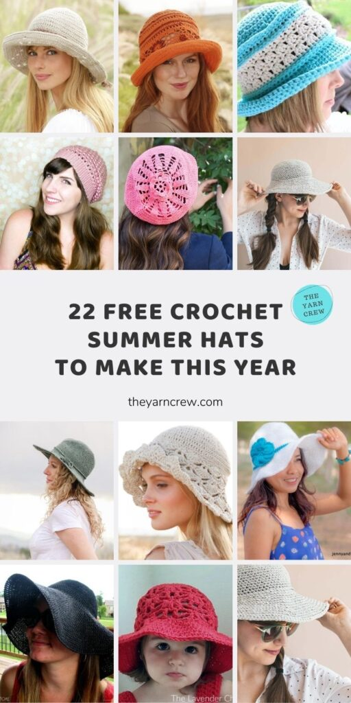 22 Free Crochet Summer Hats To Make This Year Main Pinterest Poster