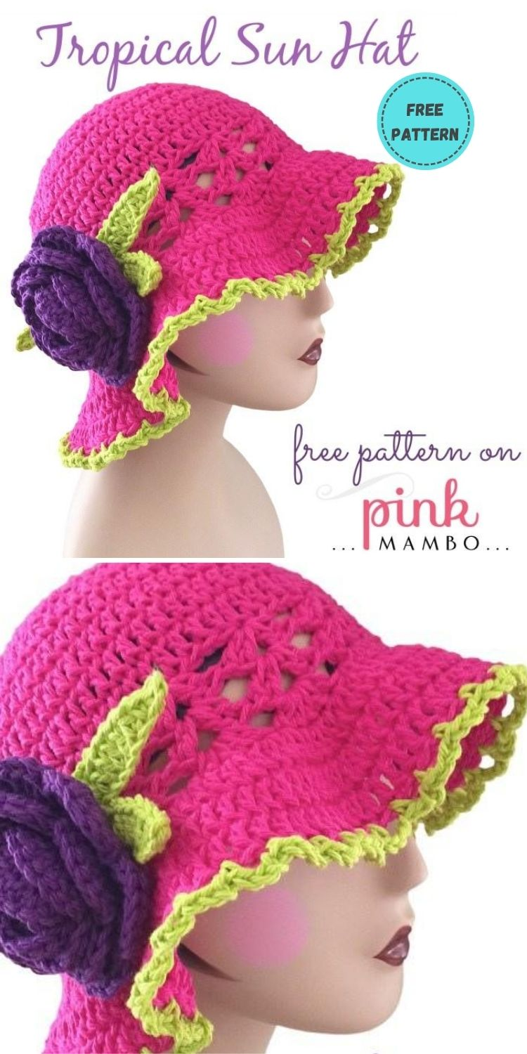 22 Free Crochet Summer Hats To Make This Year PIN POSTER 12