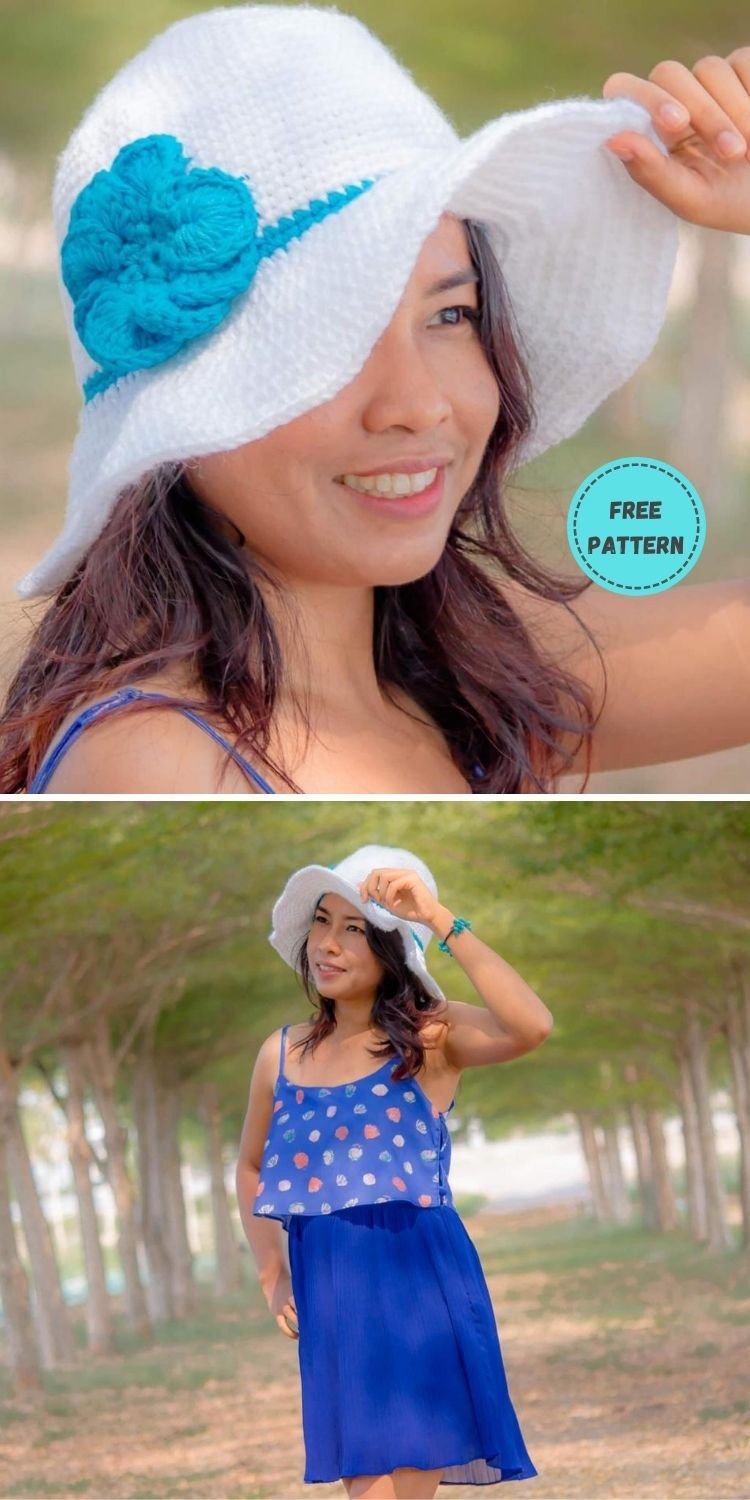 22 Free Crochet Summer Hats To Make This Year PIN POSTER 17
