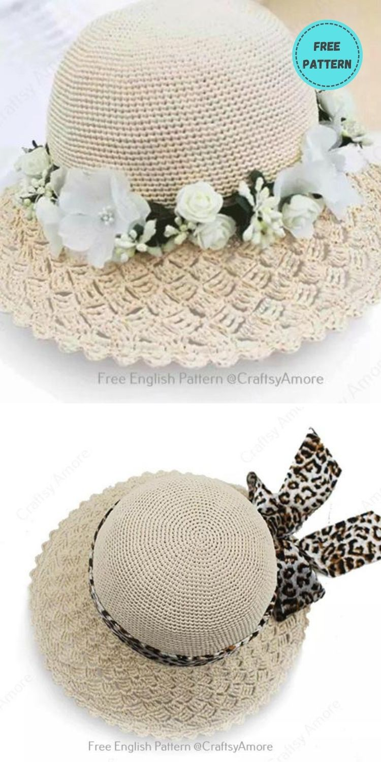 22 Free Crochet Summer Hats To Make This Year PIN POSTER 22